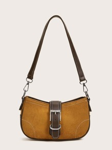 Buckle Decor Baguette Bag