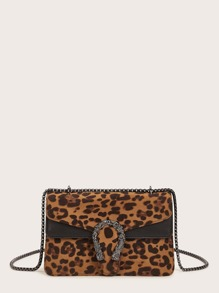 Leopard Chain Crossbody Bag