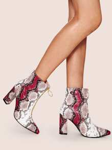 Snakeskin Print Front Zip Chunky Boots