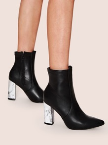 Marble Pattern Heel Side Zip Point Toe Boots