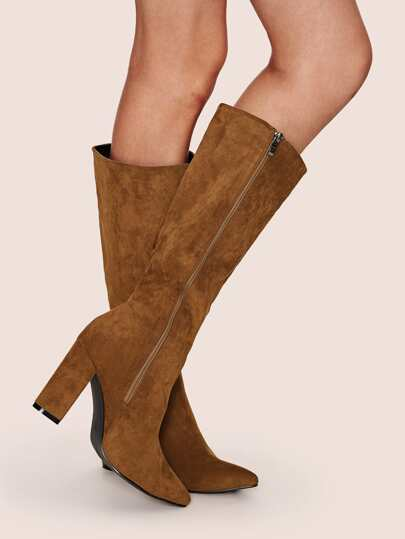 Point Toe Side Zip Chunky Boots