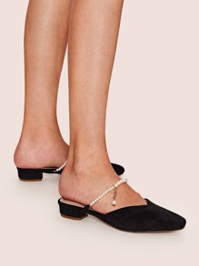Faux Pearl Decor Square Toe Flat Mules