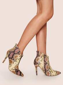 Snakeskin Print Point Toe Stiletto Boots