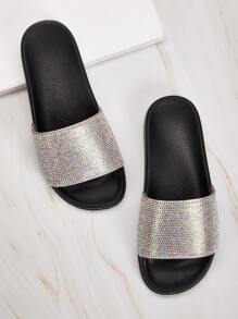 Glitter Open Toe Sliders