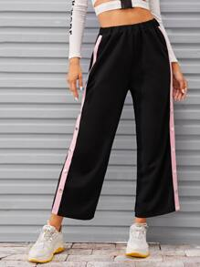 Button Detail Slit Hem Pants