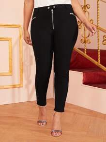 Plus Zip Front Skinny Jeans