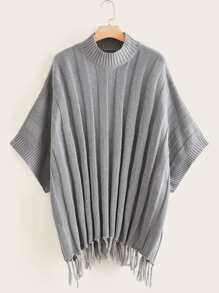 Plus Solid Fringe Hem Ribbed Sweater