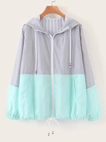 Two Tone Drawstring Hooded Windbreaker Jacket