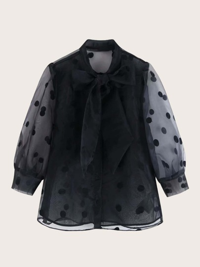 Polka Dot Tie Neck Organza Blouse