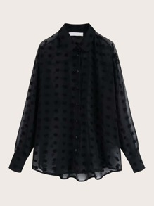 Swiss Dot Dip Hem Chiffon Blouse
