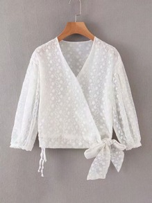 Flower Embroidered Tie Side Wrap Blouse