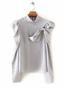 Tie Side Mock Neck Puff Sleeve Blouse