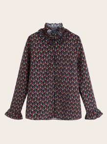 Allover Print Ruffle Neck Blouse