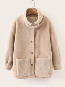 Dual Pocket Button Up Teddy Coat