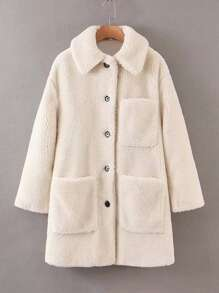 Pocket Patched Button Up Teddy Coat
