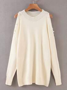 Pearls Beaded Cold Shoulder Solid Sweater