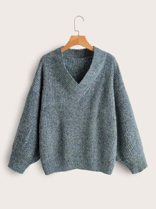 Ribbed Knit Drop Shoulder Solid Sweater
