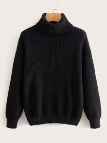 Ribbed Knit High Neck Solid Jumper