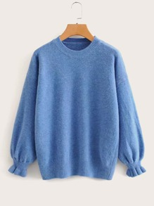 Solid Flounce Sleeve Drop Shoulder Jumper