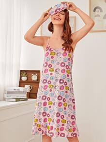 Donut Print Cami Dress With Eye Mask