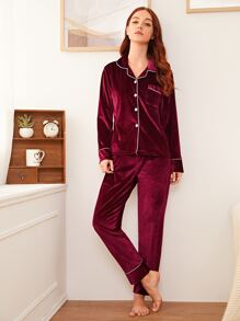 Button Front Velvet Pajama Set