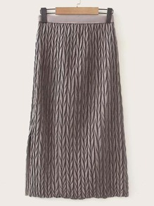 Cable Knit Solid Tweed Skirt