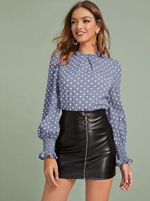 Polka Dot Ruffle Trim Shirred Cuff Blouse