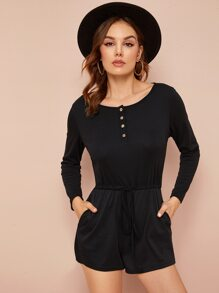 Solid Half Button Drawstring Waist Romper
