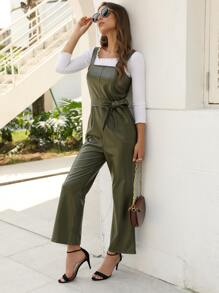 Faux Leather Belted Overall Jumpsuit