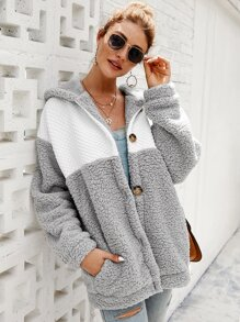 Contrast Panel Slant Pocket Hooded Teddy Coat