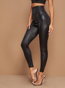 Crocodile Print Wide Waistband Leggings