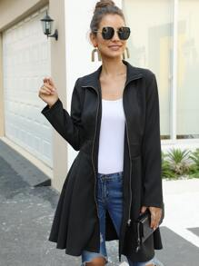 Solid Zip Up A-Line Coat