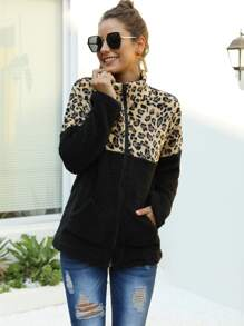Contrast Leopard Zip Up Teddy Coat