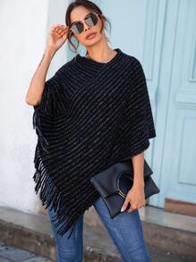 V Neck Fringe Hem Sweater Poncho