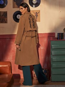 Dragon Embroidery Back Belted Trench Coat