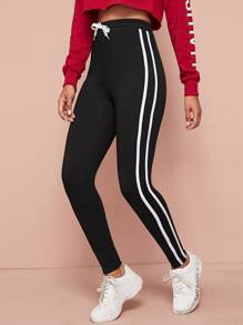 Side Stripe Drawstring Waist Fitted Pants