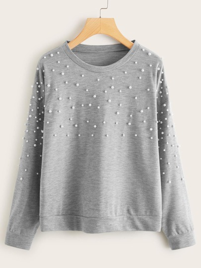 Pearls Decoration Drop Shoulder Sweatshirt