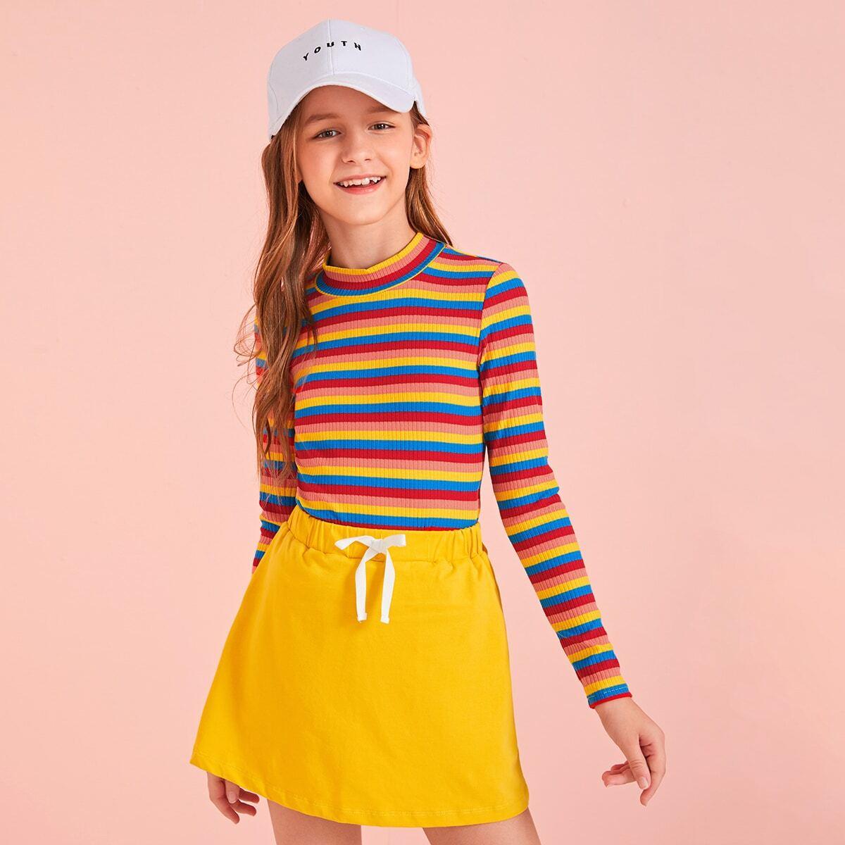 Радужная трикотажная футболка для девочек