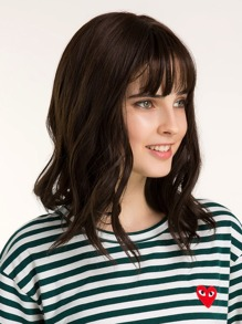 Natural Shoulder Curly Wig With Bang