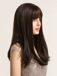 Natural Long Straight Wig With Bang