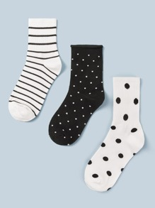 3pairs Striped & Polka Dot Pattern Socks