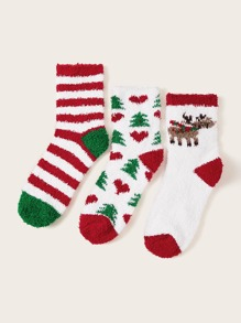 3pairs Christmas Deer & Striped Pattern Fluffy Socks
