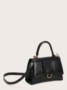 Metal Decor Flap Satchel Bag