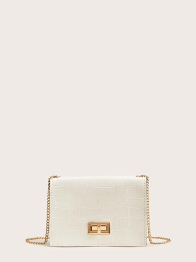 Twist Lock Croc Embossed Chain Bag