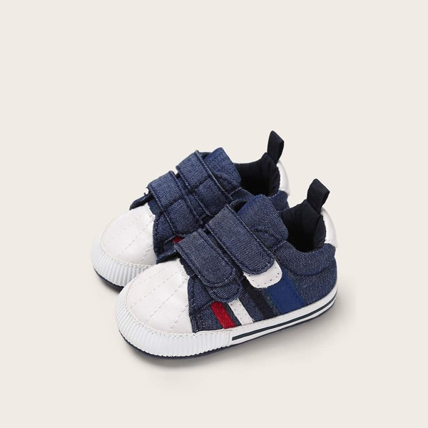 Baby Boys Striped Detail Velcro Strap Sneakers, Navy