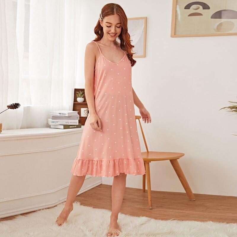 Polka Dot Ruffle Hem Cami Night Dress, Coral pink