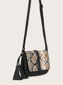 Tassel Decor Snakeskin Flap Crossbody Bag