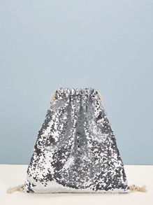 Contrast Sequins Backpack With Drawstring