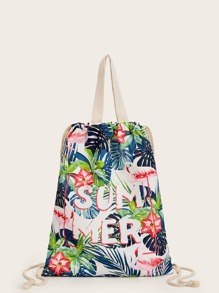 Floral & Letter Graphic Backpack