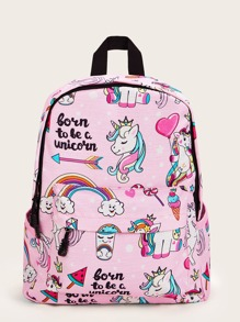 Unicorn Graphic Pocket Front Backpack